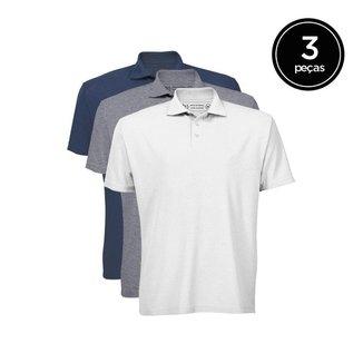 Kit de 3 Camisas Polo de Várias Cores Masculino
