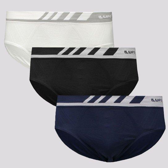 Kit de 3 Cuecas Slip Lupo Microfibra Sem Costura Masculina - Preto