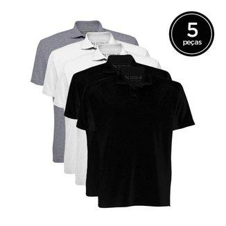 Kit de 5 Camisas Polo Masculinas de Várias Cores