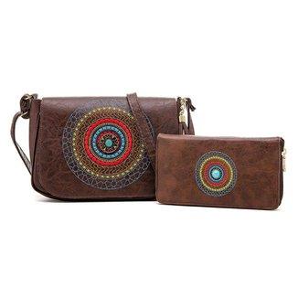 Kit De Bolsa + Carteira Mandala Bordada Nova Delhi Alice Monteiro