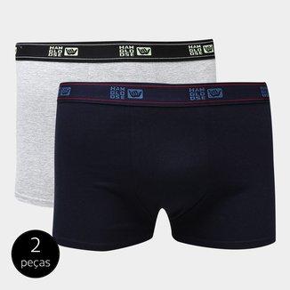 Kit de Cuecas Boxer Hang Loose Duque Elástico Bordado 2 Peças