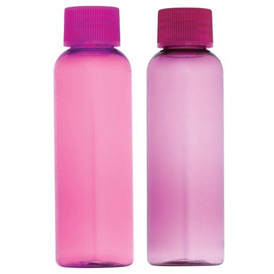 Kit de Viagem Case com 2 Frascos Colors Ricca - Roxo+Rosa