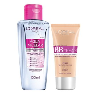 Kit Dermo Expertise BB Cream L'Oréal Paris Base Média 30ml + Água Micelar Facial 5 em 1 100ml