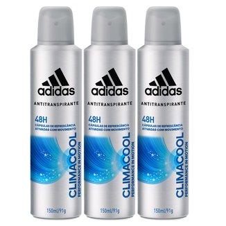 Kit Desodorante Adidas Climacool Aerosol Masculino 150ml 3 Unidades