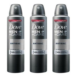 Kit Desodorante Dove Men + Care Aerosol Antibac Masculino 150ml 3 Unidades