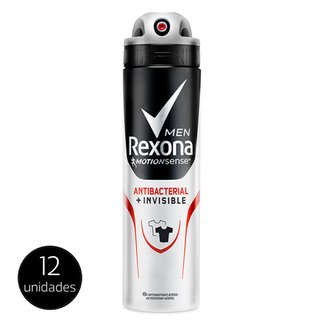 Kit Desodorante Rexona Men Aerosol Antibacterial + Invisible Masculino 150ml 12 Unidades