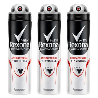 Kit Desodorante Rexona Men Aerosol Antibacterial + Invisible Masculino 150ml 3 Unidades