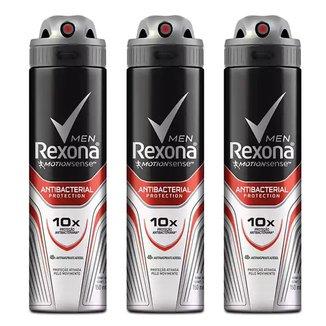 Kit Desodorante Rexona Men Aerosol Antibacterial + Invisible Masculino 150ml 3 Unidades