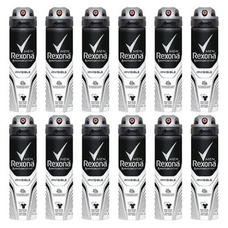 Kit Desodorante Rexona Men Aerosol Invisible Masculino 150ml 12 Unidades