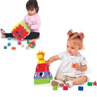 Kit Girafa+Cubo Educativos Bebê Brinquedo Didatico Infantil