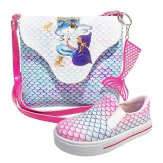 Kit Infantil Bolsa + Tênis Sereia, Magicc Kids Feminino