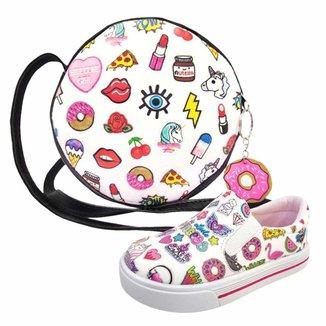 Kit Infantil Bolsa + Tênis Stickers, Magicc Kids Feminino