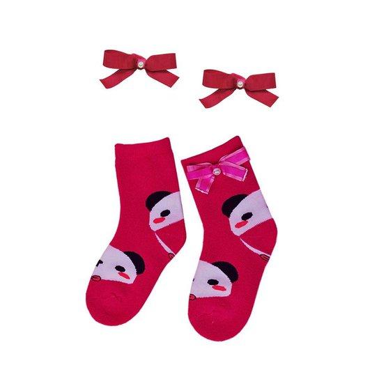 Kit Infantil Meia e Laço Ania Store Panda - Pink