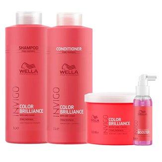 Kit Invigo Color Brilliance Tamanho Profissional Wella Shampoo + Condicionador + Máscara + Booster