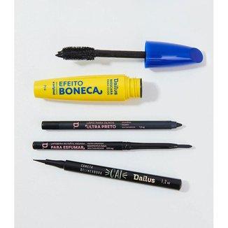 Kit Lápis Ultra Preto + Caneta Delineadora + Máscara + Lapiseira Preta