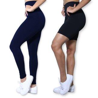 Kit Legging Bermuda Heide Ribeiro Basic Suplex Top Feminino