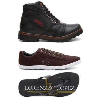 Kit Lorenzzo Lopez Bota Coturno + Sapatênis + Chinelo Masculino