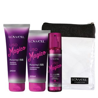 Kit Lowell Liso Mágico Shampoo 240ml + Condicionador 200ml + Fluido Termoativado 200ml