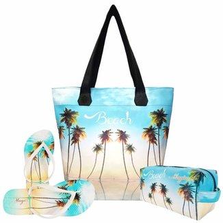 Kit Magicc Praia Bolsa + Necessaire + Chinelo Feminino