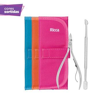 Kit Manicure Ricca 2 em 1 em Aço Inox com Estojo