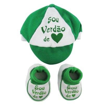 Kit Masculino Boné e Pantufa Suedine Sou Verdão Verde e Branco
