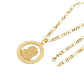 Kit Medalha Face de Cristo Tudo Joias com Corrente elo 3x1 com 6mm e 60cm Folheado a Ouro 18k
