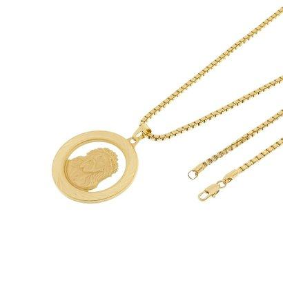 Kit Medalha Face de Cristo Tudo Joias com Corrente Veneziana 3mm e 60cm Folheado a Ouro 18k