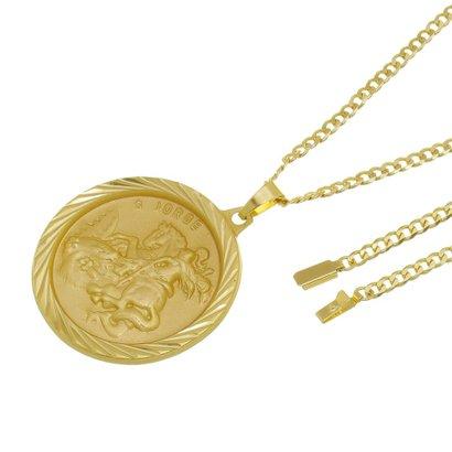 Kit Medalha São Jorge com Corrente Tudo Jóias Grumet Fecho Gaveta Folheado a Ouro 18k