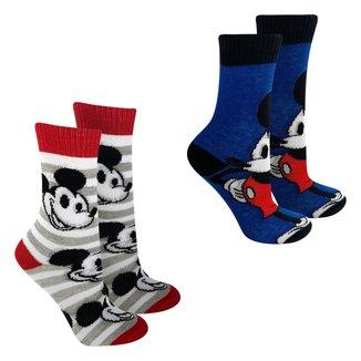 Kit Meia Infantil Disney Cano Longo  Mickey Com 2 Pares Masculino
