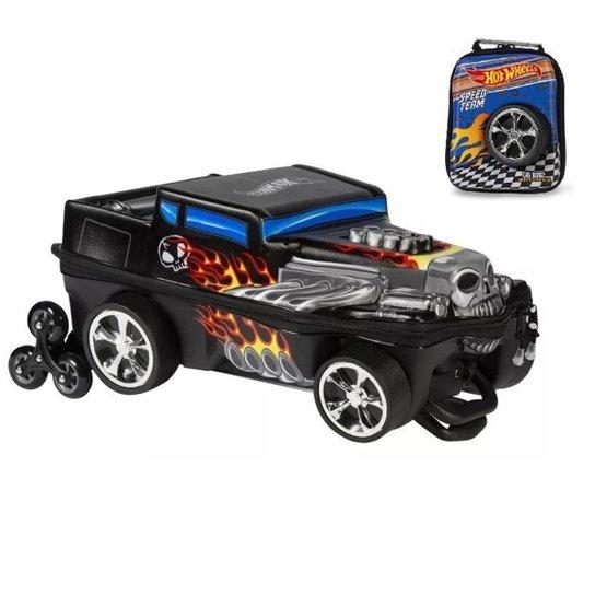 Kit Mochila  Hot Wheels Bone Shaker 3D com Rodinhas+ Lancheira MaxToy - Preto