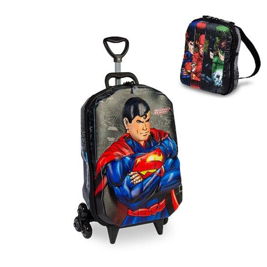 Kit Mochila  Liga da Justiça Superman 3D com Rodinhas+ Lancheira MaxToy - Preto