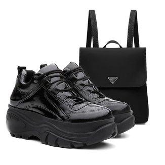 Kit Mochila+ Tênis Sneaker Buffalo Feminino Vicerinne Verniz