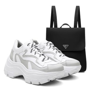 Kit Mochila + Tênis Sneaker Feminino Vicerinne Chunky Macio