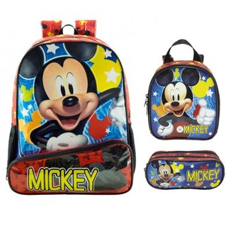 Kit Mochila Xeryus Mickey Mouse de Costa com Lancheira e Estojo