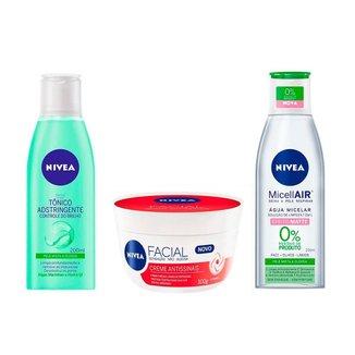 Kit  Nivea Limpeza Facial Tônico + Água Micelar + Creme Antissinais