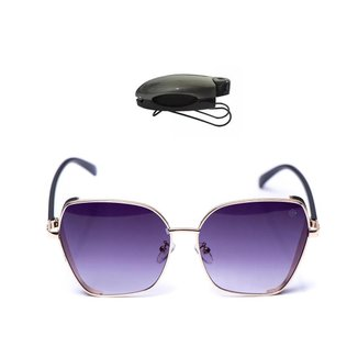 Kit Óculos de Sol Hexagonal e Porta Óculos Veicular Feminino