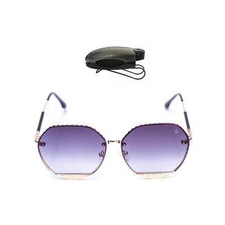 Kit Óculos de Sol Hexagonal + Porta Óculos Veicular Feminino