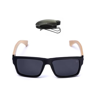 Kit Óculos de Sol Quadrado + Porta Óculos Veicular Selten Masculino