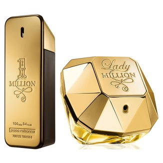 Kit Paco Rabanne Perfume Masculino One Million EDT 100ml + Perfume Feminino Lady Million EDP 80ml