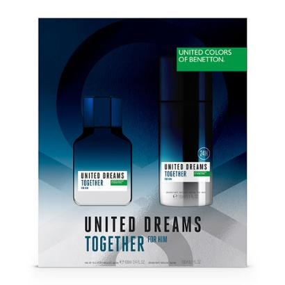 Kit Perfume Benetton United Dreams Together for Him EDT 100ml + Body Spray 150ml Masculino-Incolor