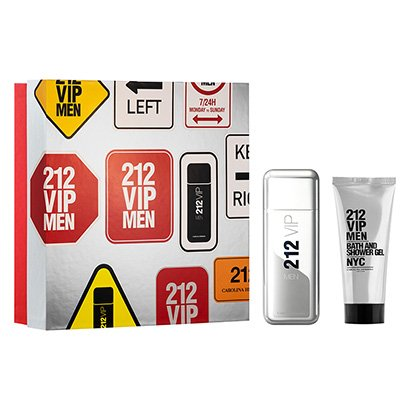 Kit Perfume Carolina Herrera 212 Vip Men Eau de Toilette Masculino 100ml + Gel de Banho 100ml - Masculino-Incolor