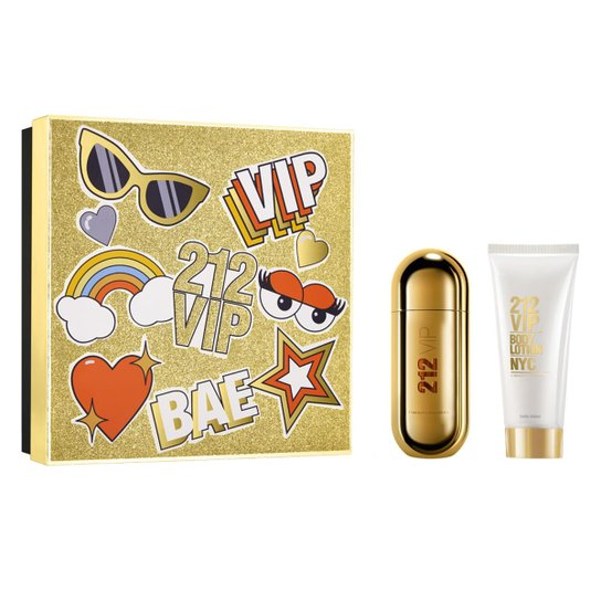 Kit Perfume Feminino 212 Vip Carolina Herrera Eau de Parfum 50ml + Loção Corporal 75ml - Incolor
