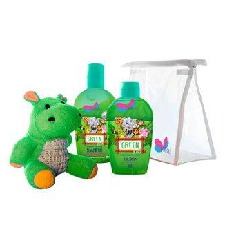 Kit Perfume Infantil Delikad Kids Safari Green Colônia 100 ml + Shampoo 200 ml