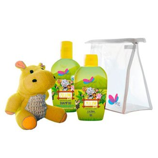 Kit Perfume Infantil Delikad Kids Safari Yellow Colônia 100 ml + Shampoo 200 ml