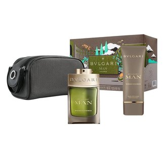 Kit Perfume Man Wood Essence Bvlgari EDP + Loção Pós Barba Nécessaire Masculino