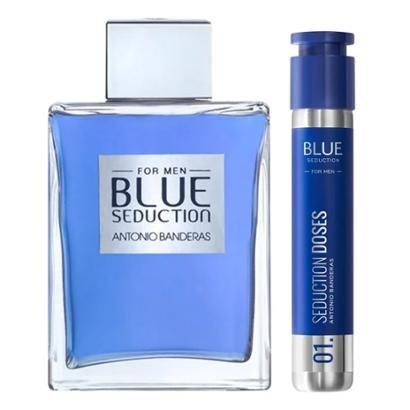 Kit Perfume Masculino 200ml EDT + Perfume Masculino Dose 3 Antonio Banderas Blue Seduction for Men