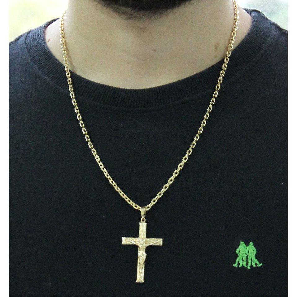 4af6c9b555b ... Kit Pingente Cruz com Corrente Tudo Jóias Cartier Diamantada Folheado a  Ouro 18k