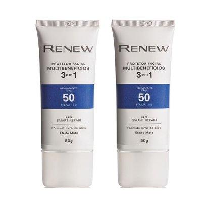 Kit Protetor Solar Facial Renew FPS 50 Efeito Matte 50g