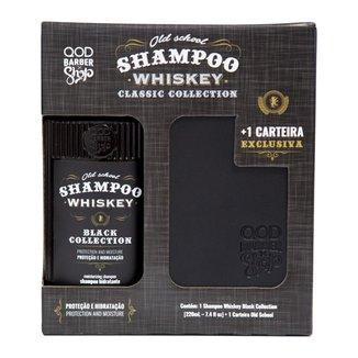 Kit QOD Barber Shop Shampoo para Cabelo e Barba Old School Whiskey 220ml + Carteira QOD Barber