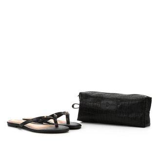 Kit Rasteira & Necessaire Look Fashion Croco